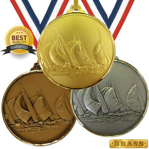 SAILING YACHTING BRASS MEDAL 52mm BEST QUALITY, FREE RIBBON, 3 COLOURS,