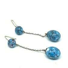 Antique Silver and Turquoise glass earrings