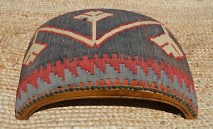 Vintage Kilim Footstool - Afghan antique wooden stool woven wool rug ottoman