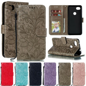 For Google Pixel 3A/3A XL Lace Flip Stand Card Wallet Leather TPU Case Cover