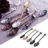 Royal Style Carved Design Crystal Spoons Head Tea Spoon Vintage Coffee Scoops CA