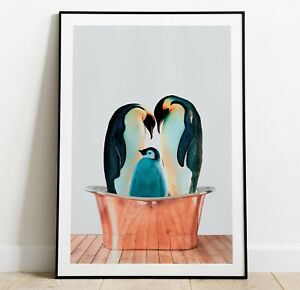 Penguins in Bath Art Print, Penguin Poster, Home Decor Wall Art