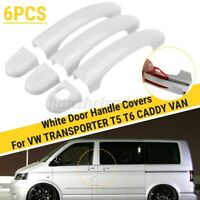 6pcs Set White Door Handle Covers Trim For VW TRANSPORTER T5 T6 CADDY VAN 04-15