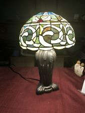 Tiffany Style Blue & White Stained Glass Table Lamp Handcrafted. Fast Ship!