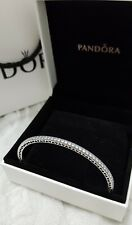Genuine Pandora Oval Eternity Bangle Silver Hearts Cz 19cm
