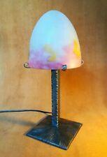 MULLER : Lampe art déco signé pied fer forgé obus pâte de verre 1930 tulipe