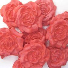12 Rojo Coral Anaranjado Flores De Azúcar Rosas Comestible Pastel De Bodas Decoración de la Magdalena