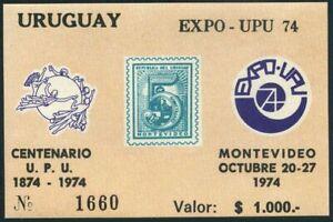 Uruguay 893a,1000 p souvenir sheet,MNH. EXPO-UPU 1974.UPU-100.