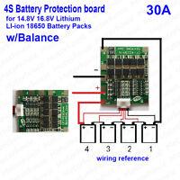 4S 30A 14.8V w/Balance Li-ion Lithium 18650 Battery PCM BMS Protection PCB Board