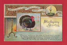1910 Thanksgiving Old Embossed Chromolithograph Postcard Turkey Gold Decoration