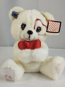 Vtg 85 Applause #5469 Sweetheart Bear White Plush Teddy Bear Holding Heart -Tags