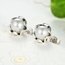New Authentic 925 Sterling Silver Stud Earrings with Freshwater Mother of Pearl