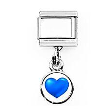 Daisy Charm - BLUE HEART DANGLE *  For 9mm Italian Modular charm bracelets