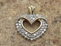 Grand! 14K Yellow & White Gold Diamond 1.00 CT Heart Charm Pendant