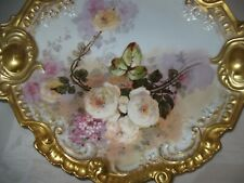 "Fancy Limoges 15"" Plaque Hand Painted Lewis Straus Sons Antique & Excellent"