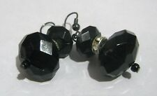 faceted black beads dangle style Lovely silver tone metal earrings with