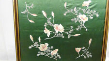 ANTIQUE CHINESE FORBIDDEN STITCHES EMBROIDERY GREEN SILK PANEL WITH PINK FLOWERS
