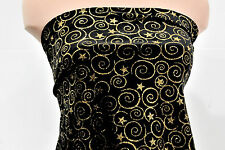 CHRISTMAS VELVET FABRIC BLACK  GOLD GLITTER SWIRLS  STARS BTY FORMAL, HOME DECOR