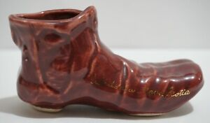Vintage Match Holder Pottery Boot Souvenir of Caledonia Nova Scotia Canada