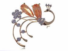 Crystal Brown Gems Brooch Pins Jewelry Lovely Enamel Gold Tone Alloy Rhinestones