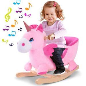 Unicorno a Dondolo Cavalcabile Peluche Cavallo Giocattolo Bambini con Suoni