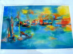 MARCEL MOULY ARTIST SIGNED LITHOGRAPH OF COLORFUL BOAT LANDSCAPE