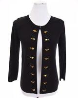 Carmen Marc Valvo Military Knit Cardigan Jacket Black Gold Womens Sz S