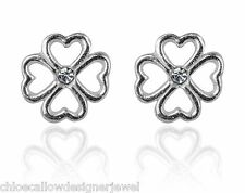 1x Pair of 925 Sterling Silver Lucky Clover Crystal Set Stud Earrings + Gift bag