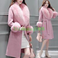 Chic Women's Fox Fur Collar Winter Warm Wool Blend Trench Hooded Coat Jacket New
