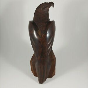 "HANDMADE 7.5"" Large Dark Brown Hawk / Eagle / Bird Carved Iron Wood Figurine"