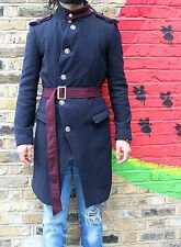 Mens Asymmetric coat small Wool All Navy, Longline Military S M 36 Saints Belted