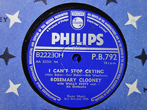 ROSEMARY CLOONEY - I Can't Stop Crying / Love And Affection 78 rpm disc (A+++)