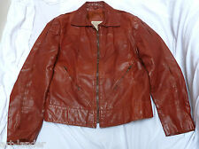 Vintage 1970s SAXONY Rust Brown Genuine Leather Biker Jacket Coat Men's 44
