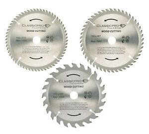 Classicpro TCT 165mm x 20mm 24T 48T 60T Circular Saw Blade Pack of 3 UK
