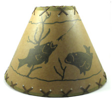 "18"" Oil Kraft FISH RUSTIC LAMPSHADE with suede lacing"