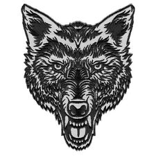 "VEGASBEE® LONE WOLF HEAD TATTOO STYLE EMBROIDERED PATCH IRON-ON EMBLEM 5""H 4""L"