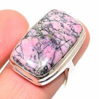 Rhodonite Gemstone Handmade 925 Sterling Silver Jewelry Ring Size 9.5 O647