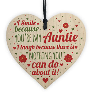 Auntie Gifts For Christmas Aunt Aunty Gifts For Birthday Wooden Heart Plaque