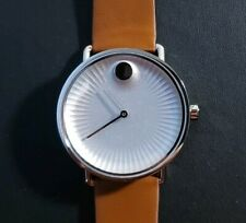 Movado Edge Watch With 40mm Silver Textured Face & Brown Leather Band