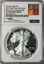 2016-W SILVER EAGLE 2019 WEST POINT MINT HOARD  NGC PF70 MERCANTI/REAGAN LABEL