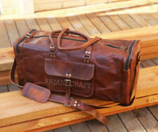 New Men's Brown Vintage Genuine Goat Leather Travel Luggage Duffle Gym Bags