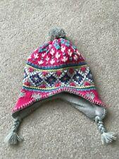 Carters Girls Pink Gray Purple White Winter Hat Size 4-6x Vguc