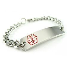 MyIDDr - Pre Engraved - COMPAZINE ALLERGY Medical Alert ID Bracelet, Curb Chain