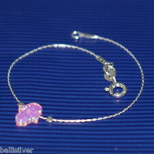 4 pieces Sterling Silver 925 Chain BRACELETS with PINK OPAL HAMSA Charms Lot