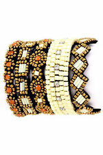 TRIBAL AZTEC 5 LAYERS WHITE BRASS CORAL CUFF BRACELET SEED BEAD HAND SEWN