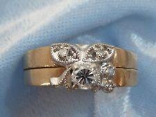 14K Yellow Gold Ring Set, 3.4mm & 4, 1.3mm Diamonds, TCW .20 carat, Size 6