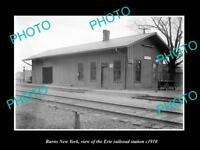 OLD LARGE HISTORIC PHOTO OF BURNS NEW YORK, ERIE RAILROAD STATION c1910 1