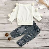 Toddler Kids Baby Girls Hairball Knit Top Denim Ripped Pants Outfits Clothes AU