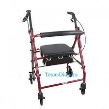 Cardinal BURGUNDY ROLLATOR Rolling Medical Walker w/ Curved Back Soft Seat