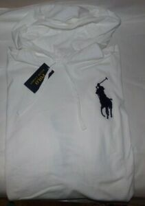 NWT MEN'S Polo Ralph Lauren L/S Hooded T-Shirt~WHITE~SZ XL